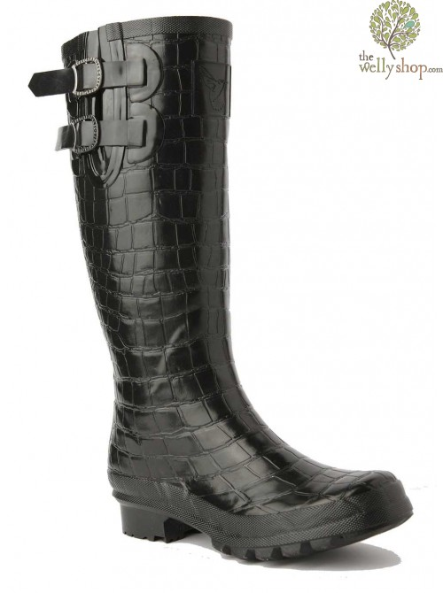 EVERCREATURES NILOTICUS BLACK CROC WELLINGTON BOOTS