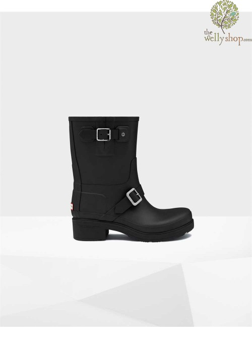 HUNTER ORIGINAL WOMAN RUBBER BIKER BOOTS BLACK