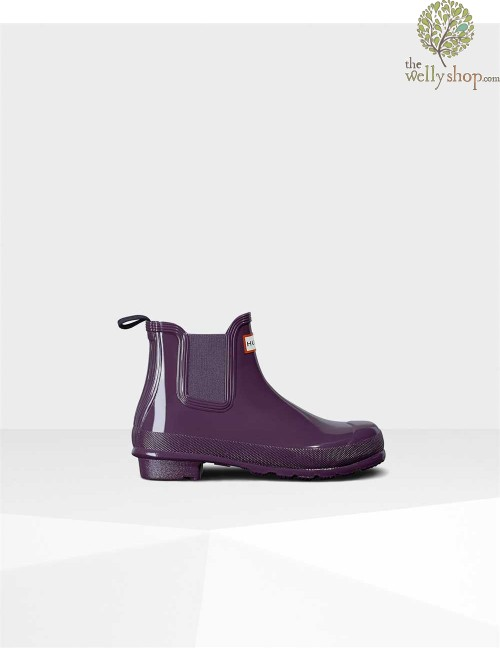Hunter Women's Original Gloss Purple Urchin Chelsea Boots