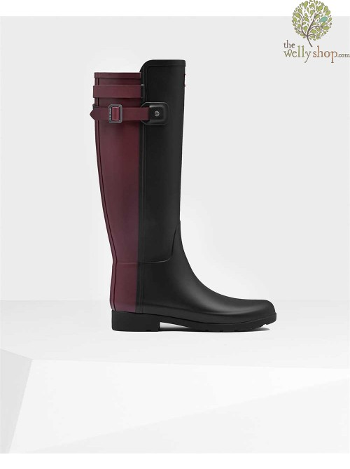 Hunter Women's Original Refined Backstrap Black Dulse Wellington Boots