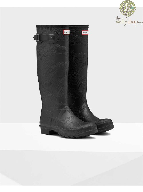 Hunter Women's Original Tall Wave Texture Wellington Boots