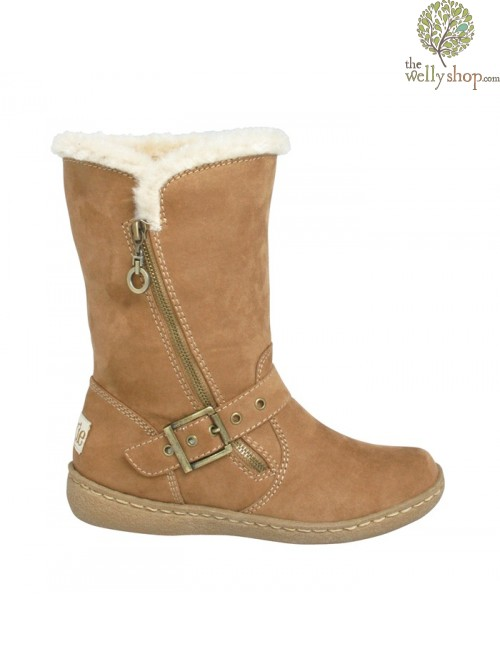 Pixie Poppy Boots Camel Full Profile View