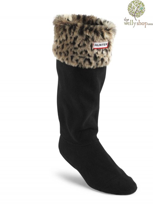 Hunter Leopard Cuff Welly Socks