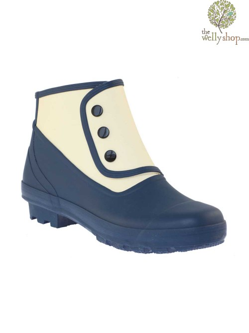 """Grace Kelly"" Spats - Blue and White Vintage Style Wellies"