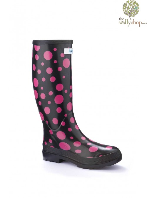 Miss Outgoing Pink Bubbles Splash Wellies