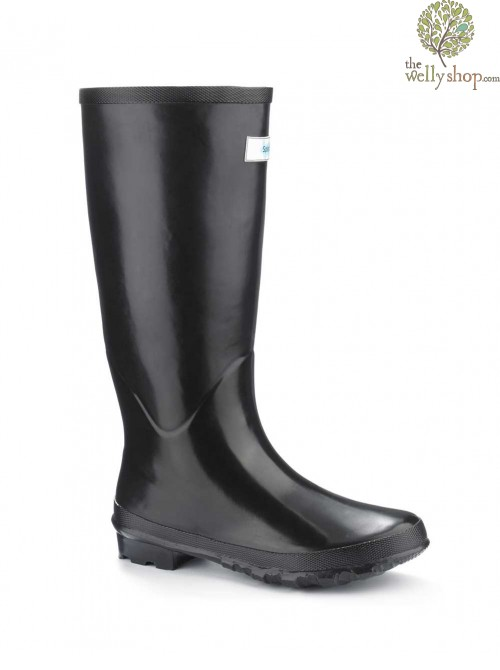Miss Predictable Black Gloss Splash Wellies (wide fit)