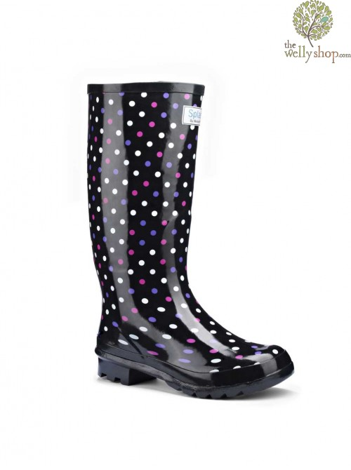 Miss Polka Black with Multi Dots Wellies (wide calf)