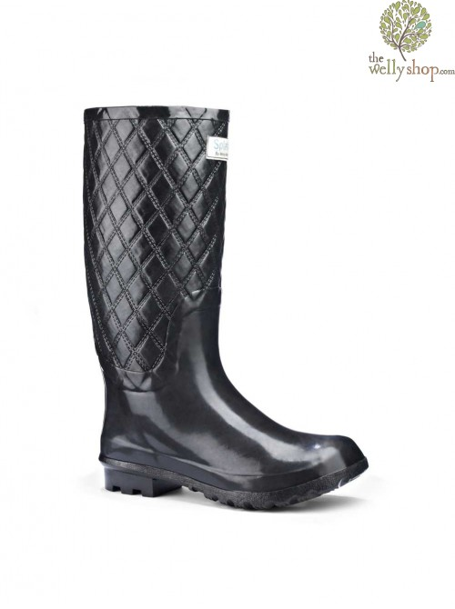 Miss Paris Black Quilted Wellies (wide calf)