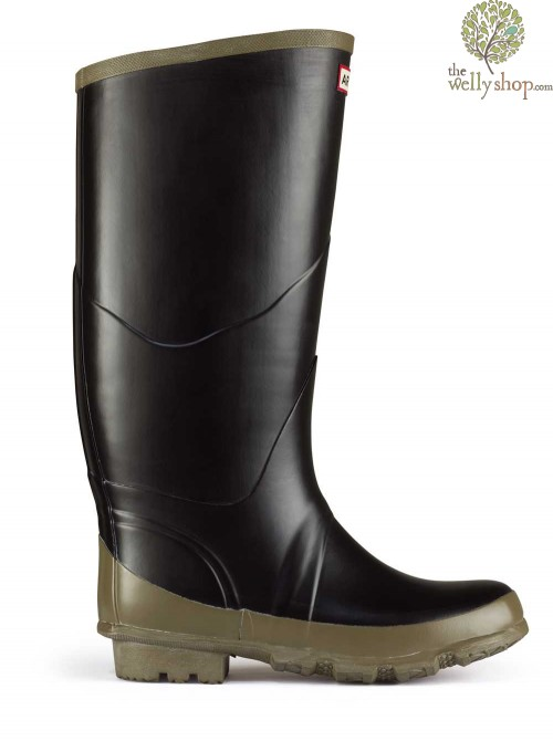 Hunter Argyll Bullseye Rugged Wide Calf Black Welly Full Knee