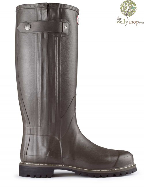Hunter Balmoral Sovereign Rubber Boots with Leather Lining Zip Vibram Sole