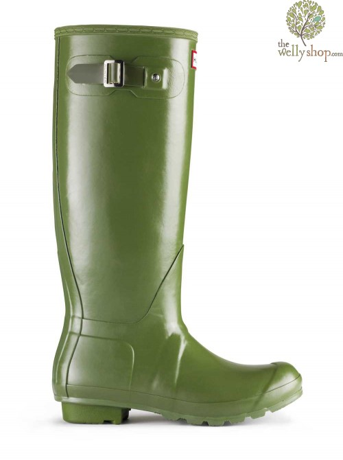 Hunter Original Tall Leather Lined Vintage Green Wellington Boots