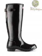 Hunter Original Tall Adjustable Calf Gloss Wellington Boots - Rear (Back) Adjustable