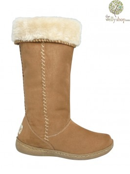 Pixie Holly Boots Camel Turned Down