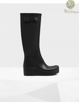 Hunter Women's Original Tall Slim Wellington Boots Low Wedge Sole