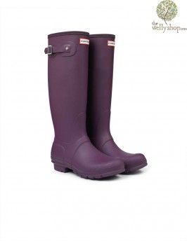 Hunter Original Stripe Bright Plum Wellington Boots