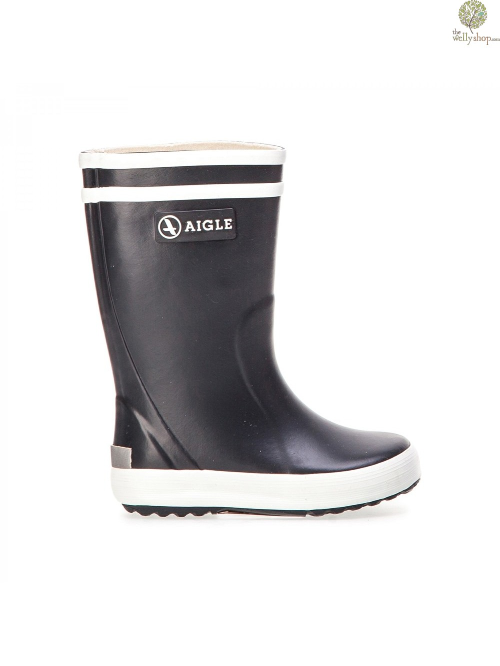 280f7eb98 Aigle Lollypop Childrens Wellies - Navy Blue/White