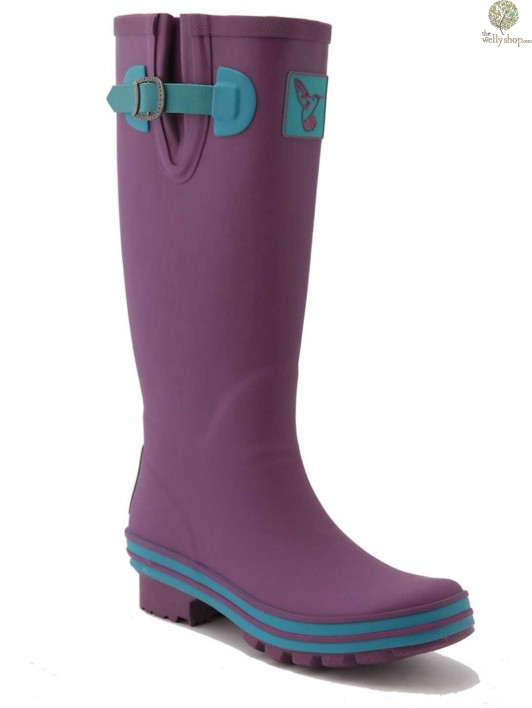 f00640f9a61e0 EVERCREATURES EGGPLANT OBSESSION PURPLE WITH BLUE TRIM WELLINGTON BOOTS